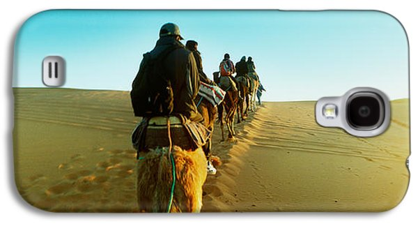 Sahara Sunlight Galaxy S4 Cases - Row Of People Riding Camels Galaxy S4 Case by Panoramic Images