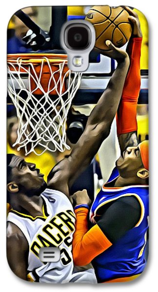 Dunk Galaxy S4 Cases - Roy Hibbert vs Carmelo Anthony Galaxy S4 Case by Florian Rodarte