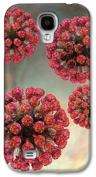 Measles Virus Galaxy S4 Cases - Rubella Virus Particles, Artwork Galaxy S4 Case by Russell Kightley