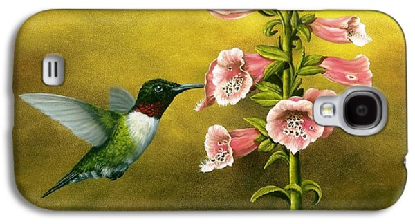 Ruby Throated Hummingbird And Foxglove Galaxy S4 Case by Rick Bainbridge