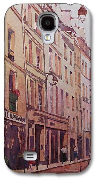 Streetscenes Paintings Galaxy S4 Cases - Rue Galande Galaxy S4 Case by Jenny Armitage