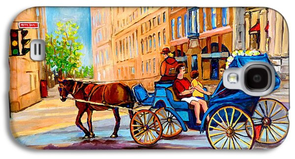 Horse And Buggy Paintings Galaxy S4 Cases - Rue Notre Dame Caleche Ride Galaxy S4 Case by Carole Spandau
