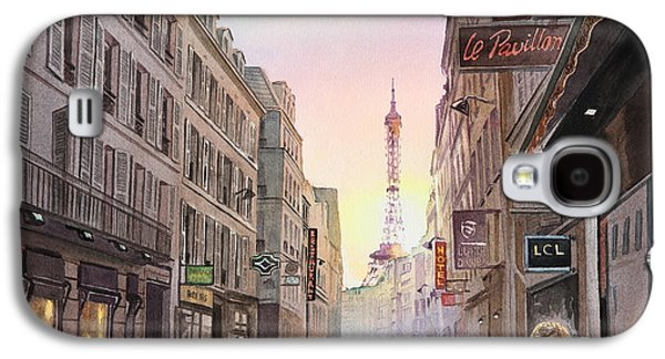 City Scape Galaxy S4 Cases - Rue Saint Dominique Sunset Through Eiffel Tower   Galaxy S4 Case by Irina Sztukowski
