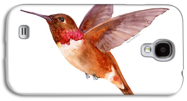 Rust Paintings Galaxy S4 Cases - Rufous Hummingbird Galaxy S4 Case by Amy Kirkpatrick
