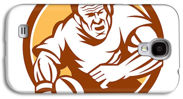 Linoleum Print Galaxy S4 Cases - Rugby Player Running Ball Circle Linocut Galaxy S4 Case by Aloysius Patrimonio