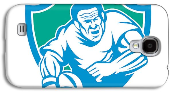 Linocut Galaxy S4 Cases - Rugby Player Running Ball Shield Linocut Galaxy S4 Case by Aloysius Patrimonio