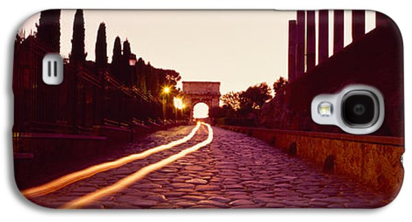 Ancient Civilization Galaxy S4 Cases - Ruins Along A Road At Dawn, Roman Galaxy S4 Case by Panoramic Images