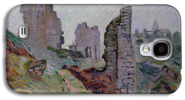 Ruin Galaxy S4 Cases - Ruins in the Fog at Crozant Galaxy S4 Case by Jean Baptiste Armand Guillaumin