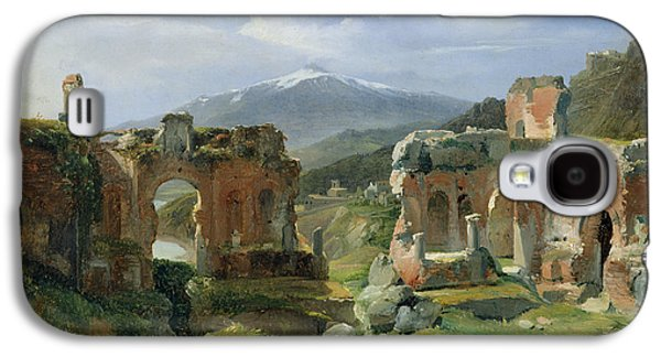Sicily Paintings Galaxy S4 Cases - Ruins of the Theatre at Taormina Galaxy S4 Case by Achille Etna Michallon