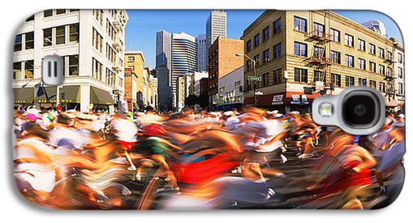 Sports Photographs Galaxy S4 Cases - Runners Competing In Bay Bridge Run Galaxy S4 Case by Panoramic Images