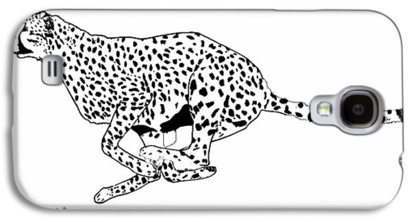 Cheetah Drawings Galaxy S4 Cases - Running Cheetah Spotted Galaxy S4 Case by Teresa  Peterson
