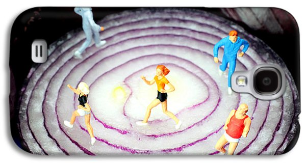 Jogging Digital Art Galaxy S4 Cases - Running on red onion little people on food Galaxy S4 Case by Paul Ge