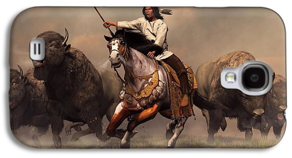 Western Art Digital Art Galaxy S4 Cases - Running With Buffalo Galaxy S4 Case by Daniel Eskridge