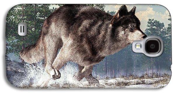 Wolves Digital Galaxy S4 Cases - Running Wolf Galaxy S4 Case by Daniel Eskridge