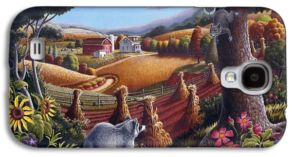 New England Galaxy S4 Cases - Rural Country Farm Life Landscape folk art Raccoon Squirrel Rustic Americana scene  Galaxy S4 Case by Walt Curlee