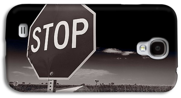 Stop Sign Galaxy S4 Cases - Rural Stop Sign BW Galaxy S4 Case by Steve Gadomski
