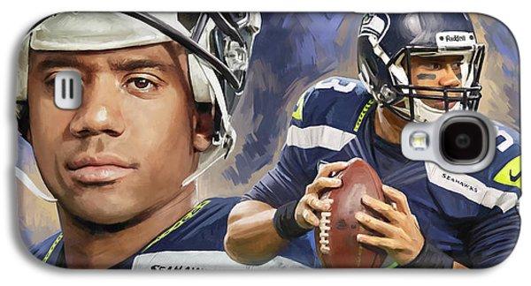 Quarterback Galaxy S4 Cases - Russell Wilson Artwork Galaxy S4 Case by Sheraz A