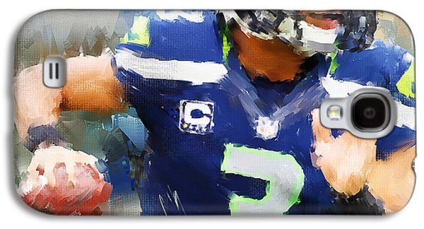 Rugby Paintings Galaxy S4 Cases - Russell Wilson Galaxy S4 Case by Lourry Legarde
