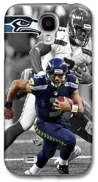 Sports Photographs Galaxy S4 Cases - Russell Wilson Seahawks Galaxy S4 Case by Joe Hamilton