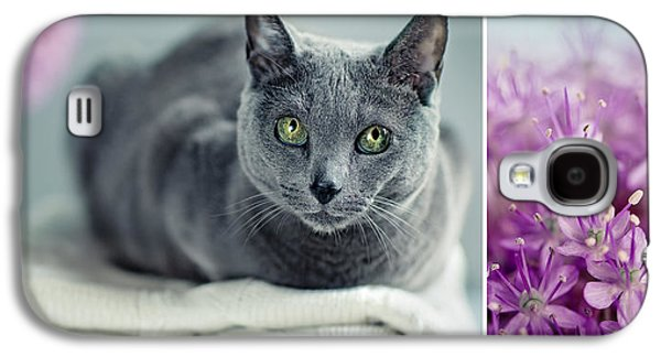 Furry Galaxy S4 Cases - Russian Blue Collage Galaxy S4 Case by Nailia Schwarz