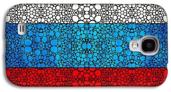 Russian Flag - Russia Stone Rock'd Art By Sharon Cummings Galaxy S4 Case by Sharon Cummings