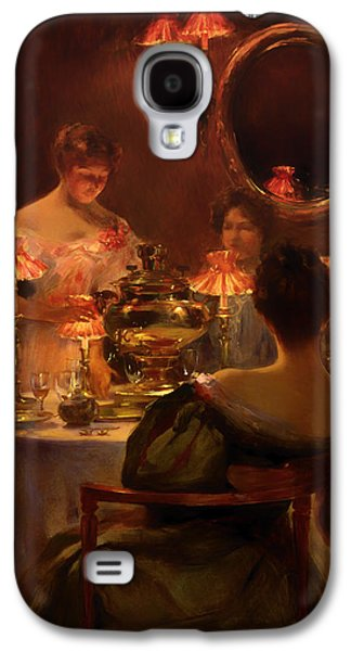 Tea Party Paintings Galaxy S4 Cases - Russian Tea Galaxy S4 Case by Irving Wiles