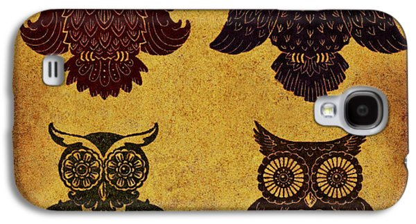 Lino-cut Galaxy S4 Cases - Rustic Aged 4 Owls Galaxy S4 Case by Kyle Wood