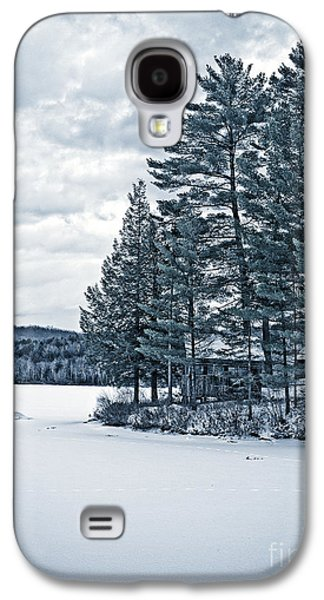 Cold Galaxy S4 Cases - Rustic Cabin on the Pond Galaxy S4 Case by Edward Fielding