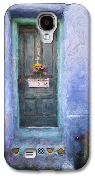 Western Digital Art Galaxy S4 Cases - Rustic Door in Tucson Barrio Painterly Effect Galaxy S4 Case by Carol Leigh