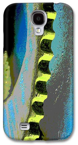 Gear Mixed Media Galaxy S4 Cases - Rustic Industrial Gear in Blue Pop Galaxy S4 Case by ArtyZen Studios - ArtyZen Home