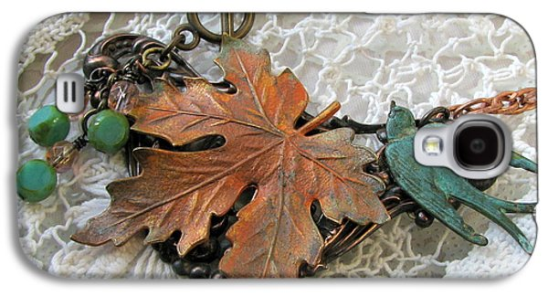 Fauna Jewelry Galaxy S4 Cases - Rustic Leaf and Bird Necklace Galaxy S4 Case by Cates Boutik