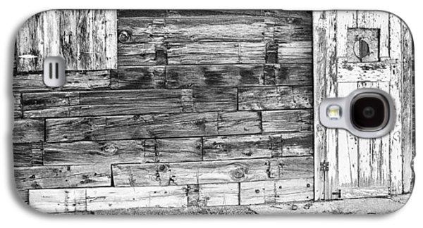 Mining Photos Galaxy S4 Cases - Rustic Old Colorado Barn Door and Window BW Galaxy S4 Case by James BO  Insogna