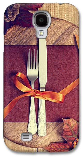 Pine Cones Photographs Galaxy S4 Cases - Rustic Table Setting For Autumn Galaxy S4 Case by Amanda And Christopher Elwell