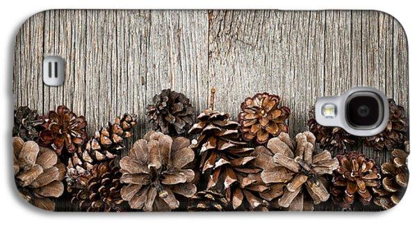 Pine Cones Photographs Galaxy S4 Cases - Rustic wood with pine cones Galaxy S4 Case by Elena Elisseeva