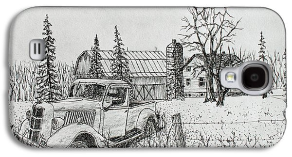 Old Barn Drawing Drawings Galaxy S4 Cases - Rusting Away Galaxy S4 Case by Jack G  Brauer