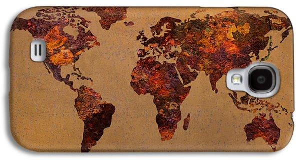 Metal Sheet Galaxy S4 Cases - Rusty Vintage World Map on Old Metal Sheet Wall Galaxy S4 Case by Design Turnpike