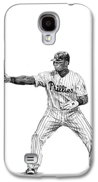 Phillies Drawings Galaxy S4 Cases - Ryan Howard Galaxy S4 Case by Joshua Sooter