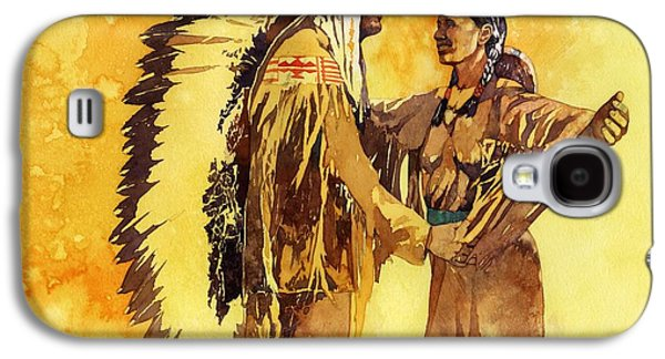 Sisters Paintings Galaxy S4 Cases - Sacagawea Greeting her Brother Galaxy S4 Case by Matthew Frey