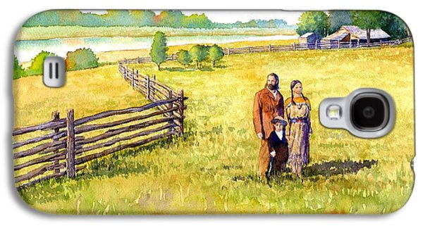 Farming Paintings Galaxy S4 Cases - Sacagawea Her Husband and Son at their Farm Galaxy S4 Case by Rob Wood