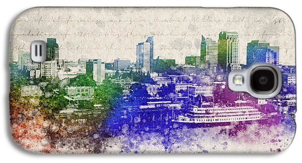 Buildings Mixed Media Galaxy S4 Cases - Sacramento City Skyline Galaxy S4 Case by Aged Pixel