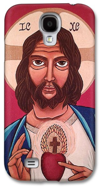 Religious Galaxy S4 Cases - Sacred Heart of Jesus Galaxy S4 Case by Susan Howard