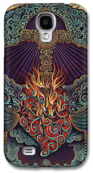 Folk Art Mixed Media Galaxy S4 Cases - Sacred Heart Galaxy S4 Case by Ricardo Chavez-Mendez