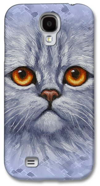 Orange Tabby Paintings Galaxy S4 Cases - Sad Blue Kitty Pillow Galaxy S4 Case by Crista Forest