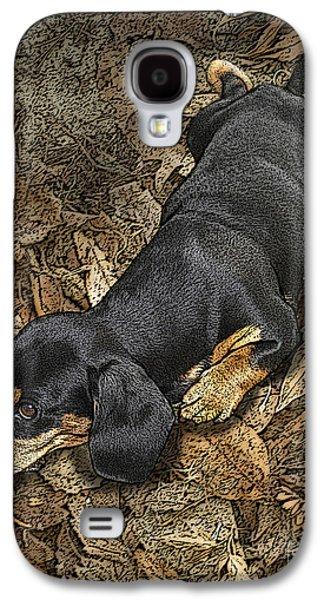 Dachshund Digital Galaxy S4 Cases - Sad Murphy Galaxy S4 Case by Judy Wood