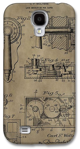 Mechanism Mixed Media Galaxy S4 Cases - Safe Lock Patent Galaxy S4 Case by Dan Sproul
