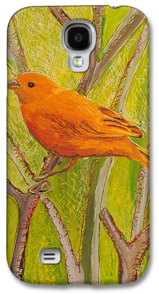 Fauna Glass Galaxy S4 Cases - Saffron Finch Galaxy S4 Case by Anna Skaradzinska