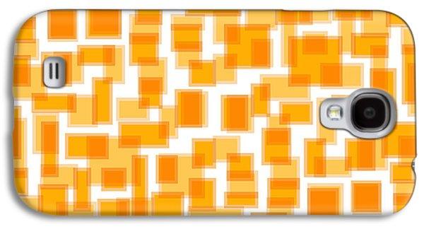 Geometric Art Galaxy S4 Cases - Saffron Yellow Abstract Galaxy S4 Case by Frank Tschakert