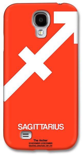 Virgo Galaxy S4 Cases - Sagittarius Zodiac Sign White on Orange Galaxy S4 Case by Naxart Studio