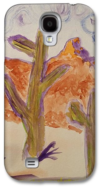 Sonora Paintings Galaxy S4 Cases - Saguaro and Dead Tree Galaxy S4 Case by Carolina Liechtenstein