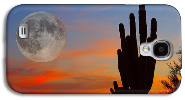 Photography Prints Galaxy S4 Cases - Saguaro Full Moon Sunset Galaxy S4 Case by James BO  Insogna